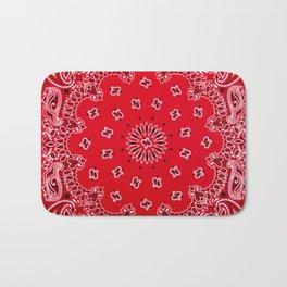 Paisley - Bandana Art - Red - Southwestern Bath Mat