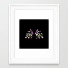 Kissing Watercolor Bunnies Framed Art Print