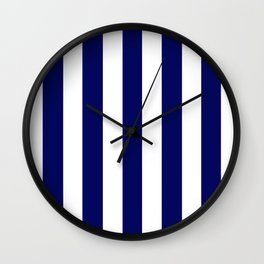 Dark Navy blue - solid color - white vertical lines pattern Wall Clock