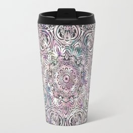 Dreaming Mandala - Magical Purple on Gray Travel Mug