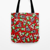 pugs Tote Bags featuring Merry Pugs by robyriker