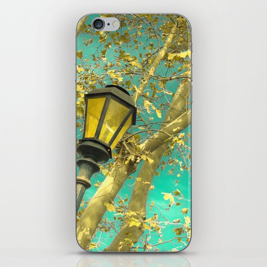 Autumn Gold Leafs in Turquoise Sky  iPhone & iPod Skin