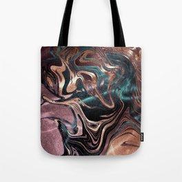 Metallic Rose Gold Marble Swirl Tote Bag