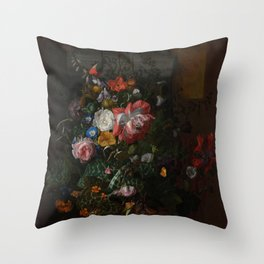 Rachel Ruysch - Roses, Convolvulus, Poppies and other flowers in an Urn on a Stone Ledge (1680) Throw Pillow
