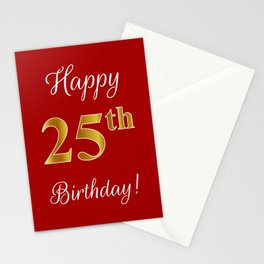 "Elegant ""Happy 25th Birthday!"" With Faux/Imitation Gold-Inspired Color Pattern Number (on Red) Stationery Cards"