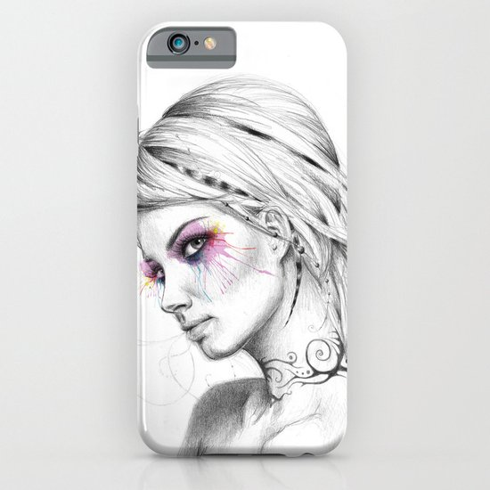 Beautiful Girl with Tattoos and Colorful Eyes iPhone & iPod Case