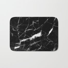 modern chic minimalist abstract black marble Bath Mat