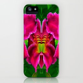 CERISE PINK LILY FLOWERS GREEN ABSTRACT iPhone Case