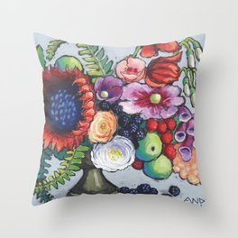 Red Sunflower Party Throw Pillow