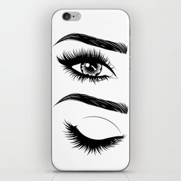 Eyes with long eyelashes and brows iPhone Skin