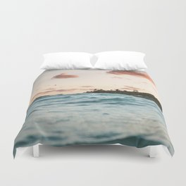 Waves at the sunset Duvet Cover