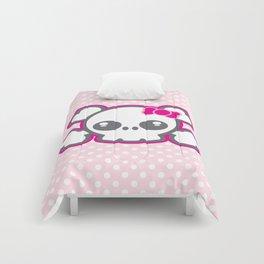 Kawaii Pink Ribbon Skull Comforters