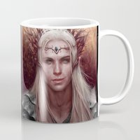 thranduil Mugs featuring Thranduil Portrait by Jay Lockwood Carpenter
