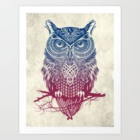 burgundy Art Prints featuring Evening Warrior Owl by Rachel Caldwell