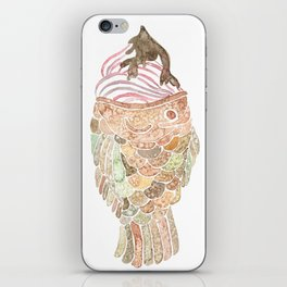 Watercolor Taiyaki Ice Cream Fish iPhone Skin