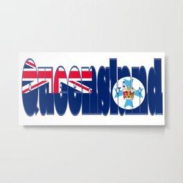 Queensland Font with Queenslander Flag Metal Print