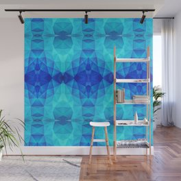 Abstract Polygon Multi Color Cubizm Painting in ice blue Wall Mural