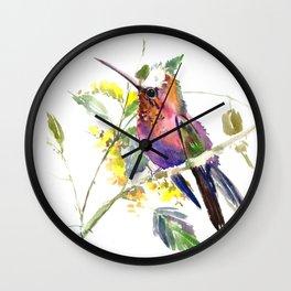 Hummingbird, beautiful decor colorful bird art Wall Clock