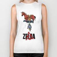 zelda Biker Tanks featuring Zelda/Akira by Henrique Jardim