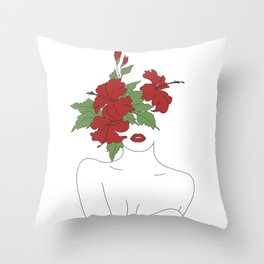 Minimal Line Art Woman with Hibiscus Throw Pillow