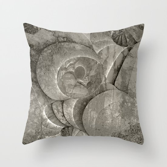 Fossilized Shells - Black & White Throw Pillow