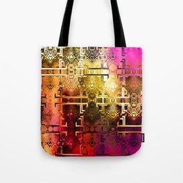 1001 Lights Pattern (gold-magenta-vermillion) Tote Bag