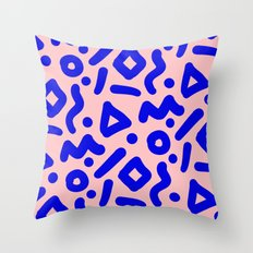 Doodle Pattern - Pink and Electric Blue Throw Pillow
