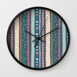 Happy Birthday Tweet Heart Whimsical Pattern Wall Clock