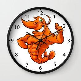 strong lobster cartoon Wall Clock