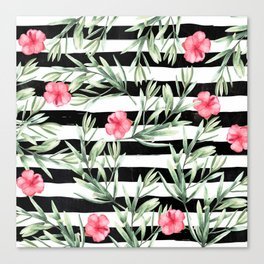 Delicate Hibiscus On Stripes Canvas Print