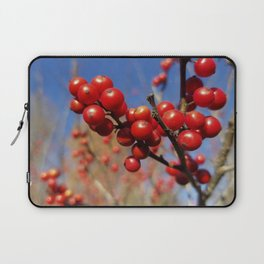 Winterberries glow against a blue autumn sky Laptop Sleeve