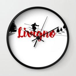 Ski at Livigno Wall Clock