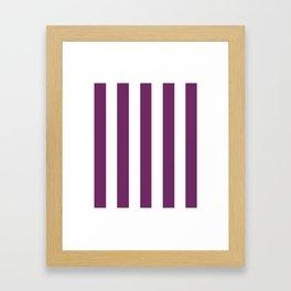 Byzantium violet - solid color - white vertical lines pattern Framed Art Print