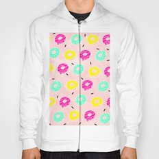 Modern bright colorful hand drawn pink mint lemon doughnuts pattern on pink pastel watercolor Hoody