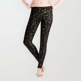 Luxury Black Gold Party Streamers Pattern Seamless Vector Leggings