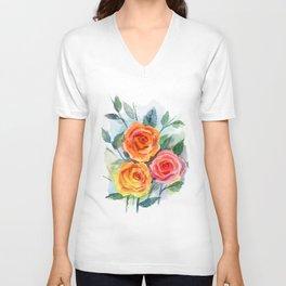 Watercolour Roses Unisex V-Neck