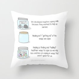 Learning New Ways to Cope Throw Pillow