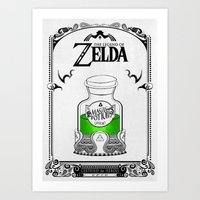 legend of zelda Art Prints featuring Zelda legend - Green potion  by Art & Be