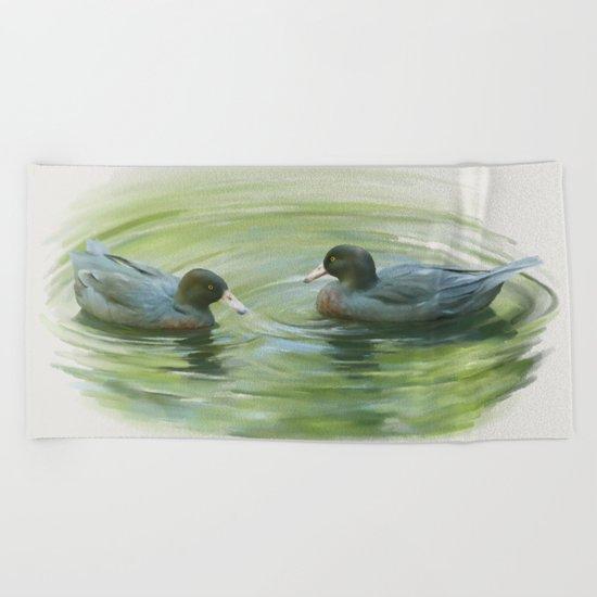Blue Ducks in pond Beach Towel