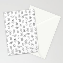 Insects pattern (White) Stationery Cards