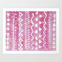 Loose boho chic pattern - pink Art Print