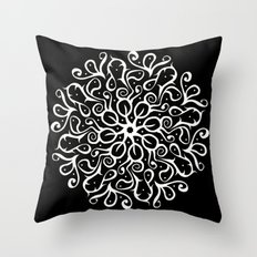 Leaves B&W Throw Pillow