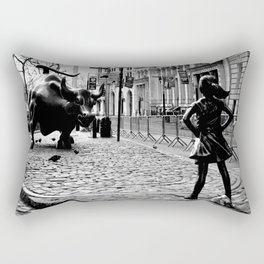 Fearless Girl and the Charging Bull Rectangular Pillow