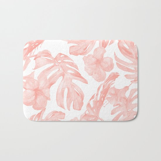 Tropical Palm Leaves Hibiscus Flowers Coral Pink Bath Mat