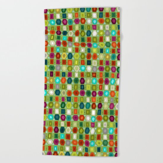 hex strip green Beach Towel