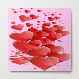 RED CANDY VALENTINE HEARTS IN PINK ART Metal Print