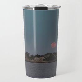 Full Strawberry Moon Rising over Rockport Travel Mug