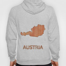 Austria map outline Orange Brown Striped watercolor illustration Hoody