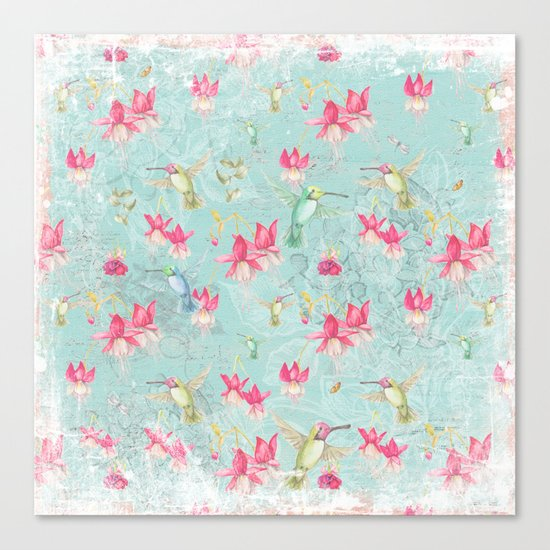 Vintage Watercolor hummingbird and Fuchsia Flowers on mint Background Canvas Print