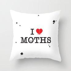 I Love Moths Throw Pillow